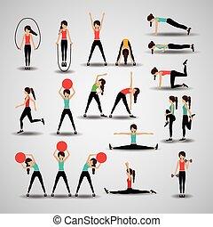 fitness, vektor, illustration., design
