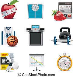 fitness, vektor, sätta, ikon