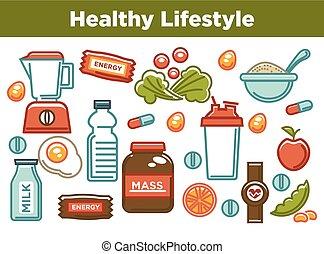 fitness, voedingsmiddelen, poster, van, sporten, gezond dieet, etenswaar voeding, icons.