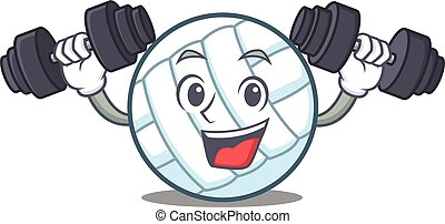 Fitness volley ball character cartoon vector illustration