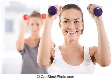 fitness, vrienden, voor, joint, oefening