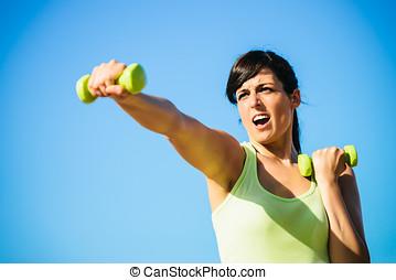 fitness, vrouw, boxing, met, dumbbells
