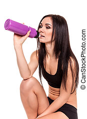fitness, vrouw, drinkwater