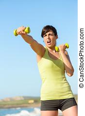 fitness, vrouw, het stompen, en, opleiding