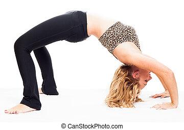 fitness, vrouw, het uitoefenen, sportief