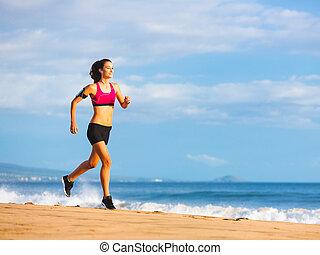 fitness, vrouw lopend