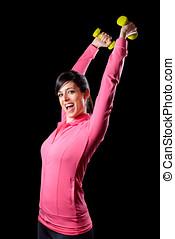 fitness, vrouw, met, dumbbells