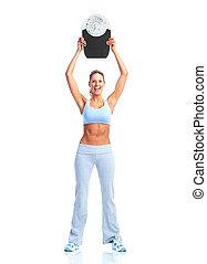 fitness, vrouw, met, een, schalen.
