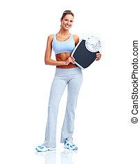 fitness, vrouw, met, schalen.