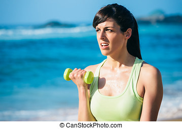 fitness, vrouw, op, strand, workout