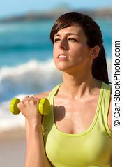fitness, vrouw, opleiding, armen