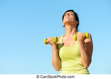 fitness, vrouw, opleiding, biceps, op, zomer