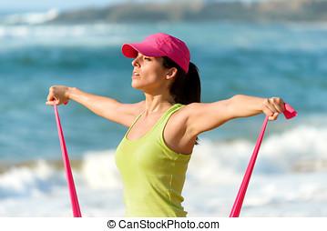 fitness, vrouw, opleiding, schouders