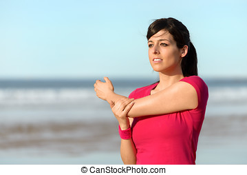 fitness, vrouw stretching