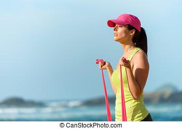 fitness, vrouw trainen, op, strand
