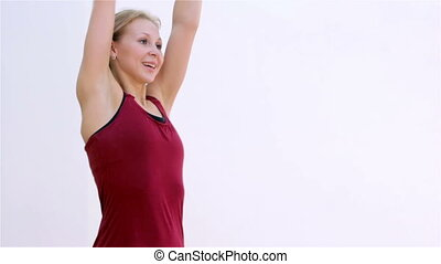 Fitness. Warm-up closeup - Young woman warming up before...