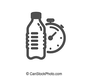 Fitness water icon. Training drink time sign. Vector