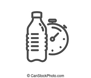 Fitness water line icon. Training drink time sign. Vector
