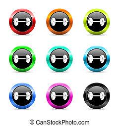 fitness web icons set