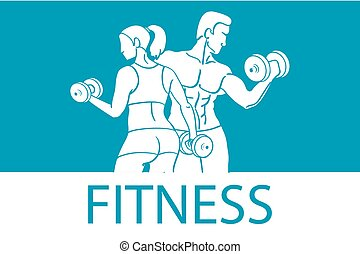 Fitness with muscled man and woman silhouettes. Man and woman holds dumbbells. Vector illustration