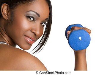 Fitness Woman - Beautiful smiling african american fitness...