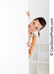 fitness woman behind white board