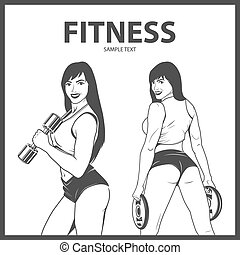 Fitness woman in two different poses. Monochrome vector EPS8...