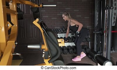Fitness woman doing exercise with dumbbells