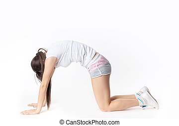 Fitness woman doing gym exercise