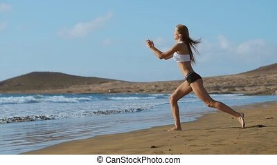 Fitness woman doing lunges exercises for glute and leg ...