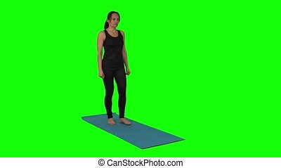 Fitness woman doing lunges exercises for leg muscle workout ...