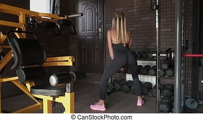 woman doing squat with dumbbell - Fitness woman doing squat...