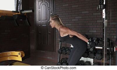 woman doing triceps exercise with dumbbells - Fitness woman...