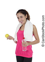 Fitness woman eating healthy during diet