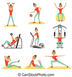 Fitness woman exercising in the gym with sports equipment set of colorful vector Illustrations
