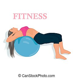 fitness, woman exercising with stability ball, vector illustration