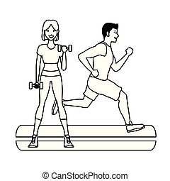 fitness woman lifting dumbbells and man running in black and white