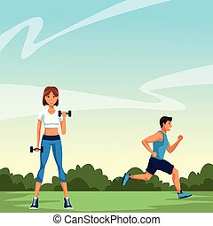 fitness woman lifting dumbbells and man running