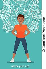 Fitness Woman mulatto. Sport banner. Flat illustration