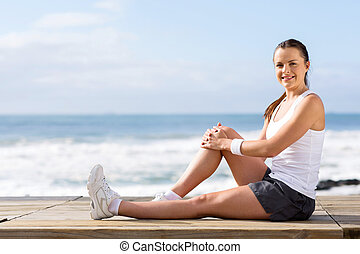 fitness woman on beach