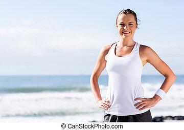 fitness woman posing outside