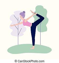 fitness woman practice yoga balance
