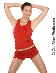 fitness woman - pretty brunette model wearing sport outfit...