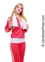 Fitness woman sport girl with towel and water bottle isolated