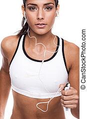 fitness woman - beautiful fitness woman running