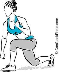 fitness woman stretching kick boxing illustration