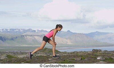 Fitness woman stretching lunge stretch exercise - Fitness ...