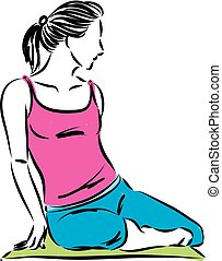 fitness woman stretching relax vector illustration