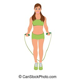 fitness woman with a jump rope