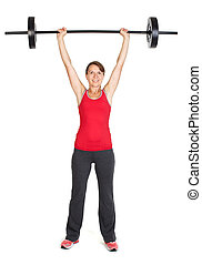 Fitness woman with barbell